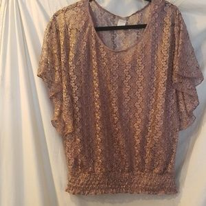 Lacy pull over top with attached cami.